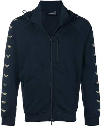 Emporio Armani Logo-sleeve zip-up hoodie