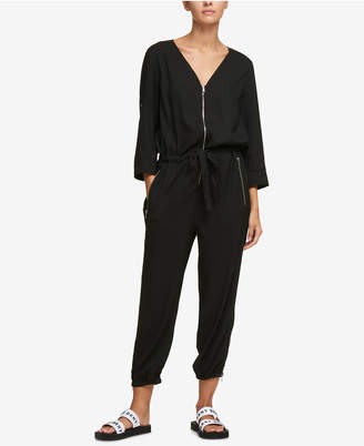 DKNY Zip-Trim Drawstring Jumpsuit, Created for Macy's