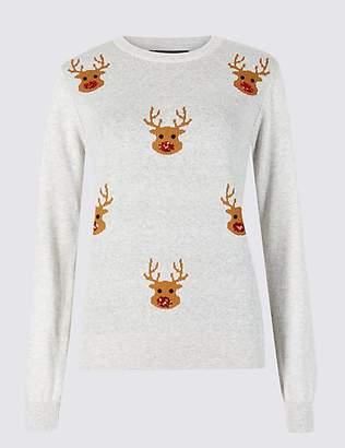 M&S Collection Embellished Reindeer Christmas Jumper