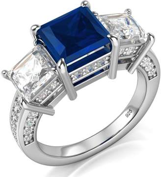 Factory Metal Sz 12 Sterling Silver 925 Princess Cut Blue & White Cubic Zirconia CZ Engagement Ring