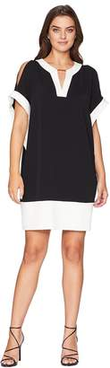 Jones New York Elbow Dolman Sleeve V-Neck Bar Trim Color Block Dress Women's Dress
