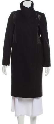 Helmut Lang Fur Lined Wool Coat