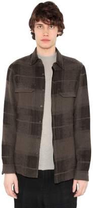 Rick Owens Check Camel & Linen Shirt W/ Pockets