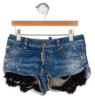 DSQUARED2 Girls' Lace-Trimmed Jean Shorts