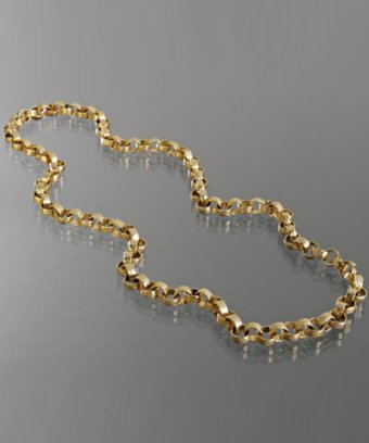 M+J Savitt gold hammered link long necklace