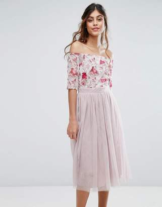 Little Mistress Midi Dress with Embroided Bodice and Tulle Skirt $108 thestylecure.com