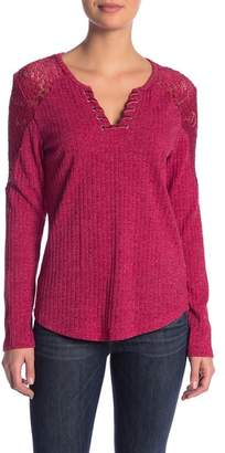 Democracy Ribbed Lace-Up Long Sleeve Sweater