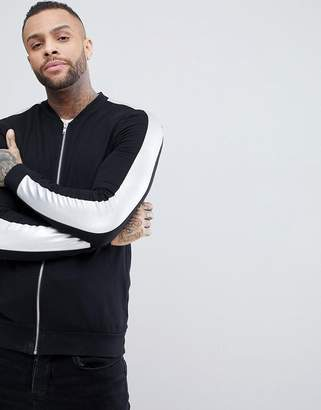Asos DESIGN Muscle Jersey Bomber Jacket With Silver Panel