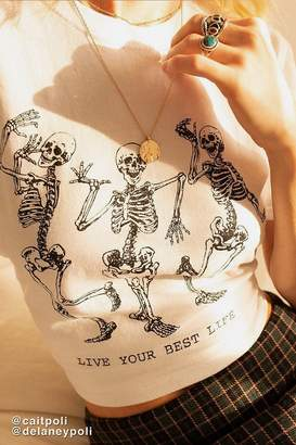 Urban Outfitters Live Your Best Life Skeleton Tee