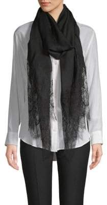 Valentino Floral Lace-Trimmed Stole