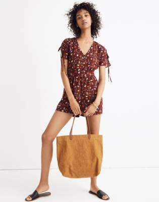 Madewell Button-Front Romper in Painted Carnations