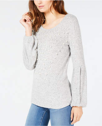 INC International Concepts I.N.C. Faux-Pearl Balloon-Sleeve Sweater, Created for Macy's