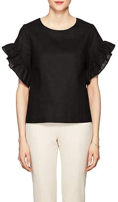 Barneys New York WOMEN'S RUFFLED LINEN-BLEND BOXY TOP