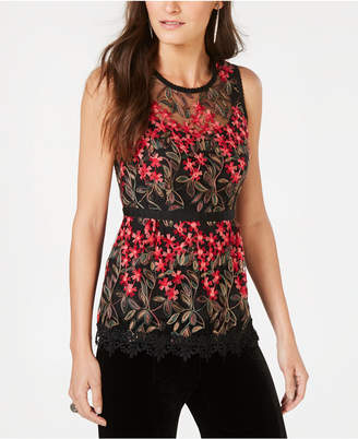 Nanette Lepore Embroidered Mesh Top, Created for Macy's