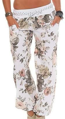 BU2H-Women BU2H Women's Summer Elastic Waist Floral Print Harem Jogger Pants US XL