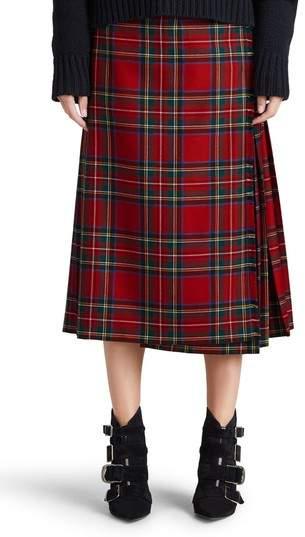 Burberry Taybridge Pleated Plaid Wool Midi Skirt