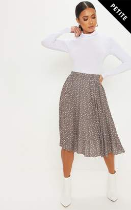 PrettyLittleThing Petite Taupe Polka Dot Pleated Midi Skirt