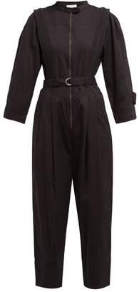 Sea Hemingway Belted Cotton Jumpsuit - Womens - Black