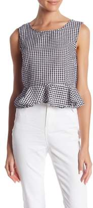 Romeo & Juliet Couture Gingham Print Peplum Tank Top