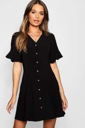 boohoo Button Through Flared Sleeve Shift Dress