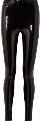 Tom Ford Sequined Stretch-jersey Leggings - Black