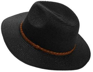 Time and Tru Women s Braided Band Wide Brim Fedora Straw Hat 55dba47c668