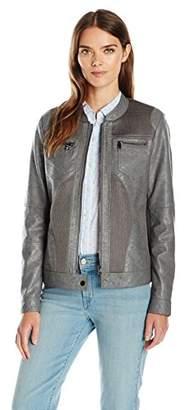 Tribal Women's Faux Leather Zip Front Jacket
