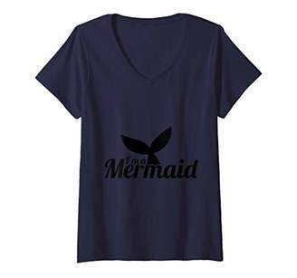 Womens I'm a Mermaid Love Mermaids Fairy Tail Sea Life V-Neck T-Shirt