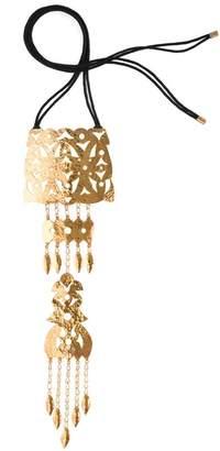 Josie Natori Hammered Gold Crown Necklace