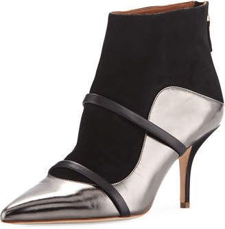 Malone Souliers Madison Two-Tone Leather and Suede Booties