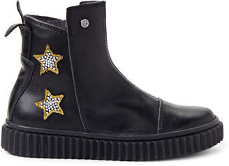 Naturino Toddler/Kids Girls) Black Star Leather Ankle Boots