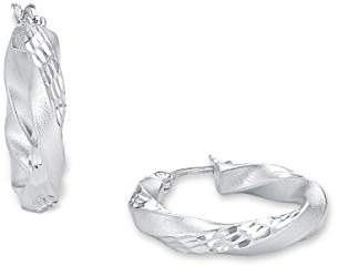 Amor women's creole earrings, 925 silver, rhodium-plated, 23 mm