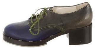 Pollini Leather Round-Toe Oxfords