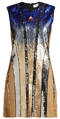 Sportmax Ghiera Sequin Embellished Mini Dress - Womens - Blue Multi
