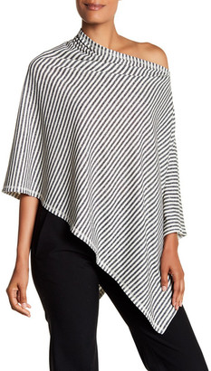 Eileen Fisher Striped Asymmetrical Linen Blend Poncho $168 thestylecure.com