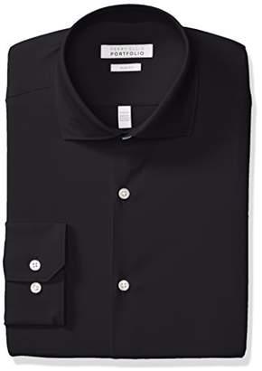 Perry Ellis Men's Non-Iron Tech Slim Fit Comfort Collar Solid Dress Shirt