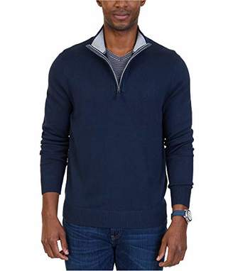 Nautica Men's Big and Tall Long Sleeve 1/4 Zip Solid Sweater with Suede Pull Detail
