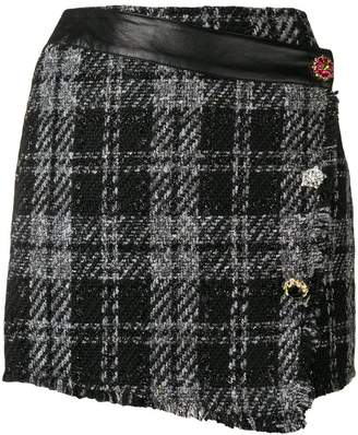 Liu Jo bouclé checked mini skirt