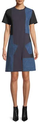 McQ Denim Patch Short-Sleeve Tee Dress