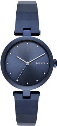 DKNY Women's Eastside Blue Stainless Steel Half-Bangle Bracelet Watch 34mm