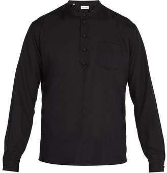 Saint Laurent - Band Collar Wool Shirt - Mens - Black