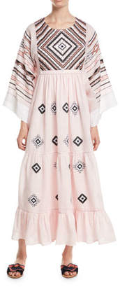 Vita Kin Agra Round-Neck Flare-Sleeves Diamond-Patch Linen Long Dress