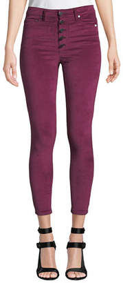 Alice + Olivia JEANS Good High-Rise Button-Fly Velvet Skinny Jeans