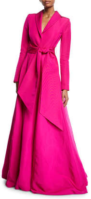 Brandon Maxwell Long-Sleeve Wrap-Belt Silk Faille Evening Ball Gown