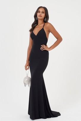 b030a25a731 Club L Womens   Cross Back Fishtail Maxi Dress By Black