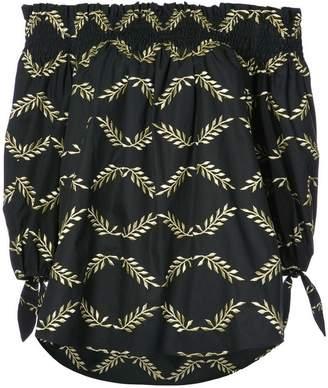 Caroline Constas Lou leaf embroidered off shoulder top