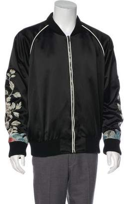 Gucci 2017 Metallic Floral Silk Bomber Jacket