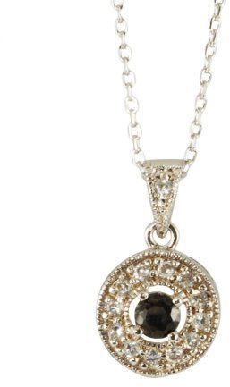 Sterling Silver Black Cubic Zirconia Round Pendant -16