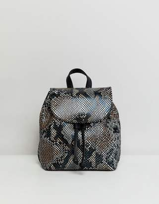 Asos Design DESIGN mini leather snake effect backpack