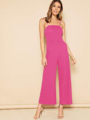 a70c900a6fda9 Shein Neon Pink Wide Leg Cami Jumpsuit